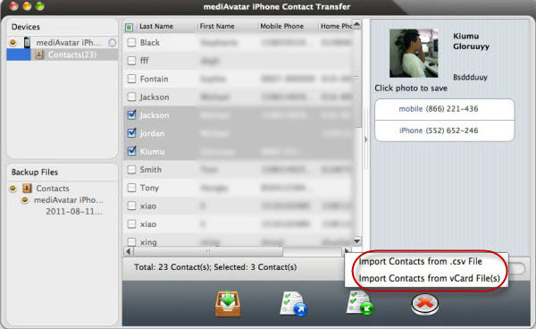 Restore iPhone contacts from Vcard Mac